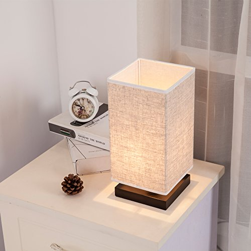 ZEEFO Simple Table Lamp Bedside Desk Lamp With Fabric Shade and Solid Wood for Bedroom, Dresser, Living Room, Baby Room, College Dorm, Coffee Table, Bookcase (square) by ZEEFO (Image #2)'