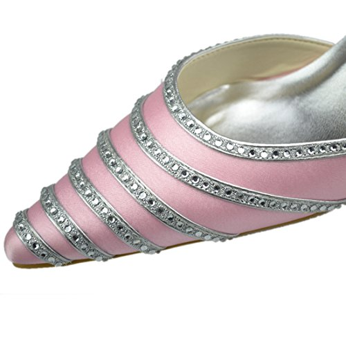 Heel Wedding Pink Bridal Kitten Heel Party Crystal Evening Womens Shoes Satin Minitoo 5cm wHOUqU