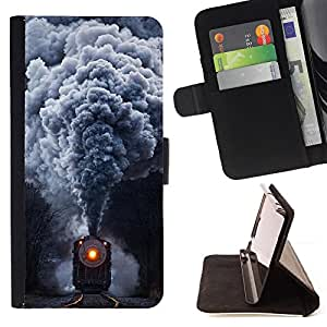 Steam Locomotive Train - Vintage Retro - Painting Art Smile Face Style Design PU Leather Flip Stand Case Cover FOR Samsung Galaxy S3 III I9300 @ The Smurfs
