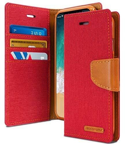 KILRELF Canvas Diary iPhone Xs / iPhone X Funda [Material Denim] Estuche Billetera de tela textil [Ranura de Efectivo / Tarjeta] Caso de Lona ...