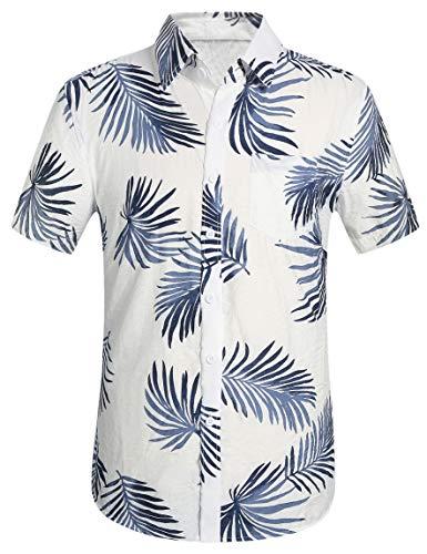 (Leisurely Pace Men's Hawaiian Aloha Shirt Short Sleeve Tropical Floral Print Button Down Shirt)