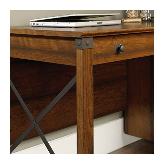 "Sauder Carson Forge Desk, Washington Cherry finish - Overall Dimensions: 53 1/4"" W x 22 5/8"" D x 29 3/4"" H Three drawers with metal runners and safety stops Lower drawer holds letter-size hanging files - writing-desks, living-room-furniture, living-room - 51XZJnHZsIL. SS570  -"