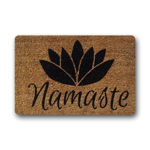 Fedso Alfombra Personalizable de Fibra de Coco Namaste, Alfombra para Puertas de Interior y Exterior, decoración del hogar, 60 x 40 cm, Antideslizante