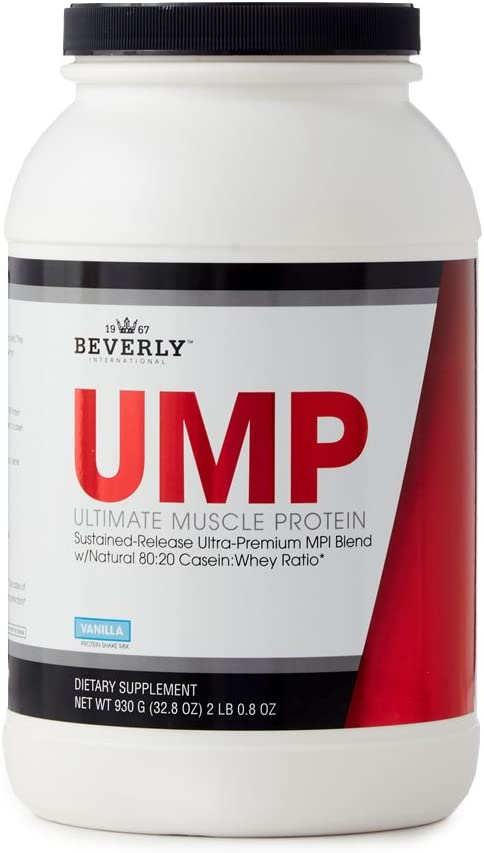 Beverly International UMP Protein Powder 30 servings, Vanilla. Unique whey-casein ratio builds lean muscle and burns fat for hours. Easy to digest. No bloat. 32.8 oz 2lb .8 oz