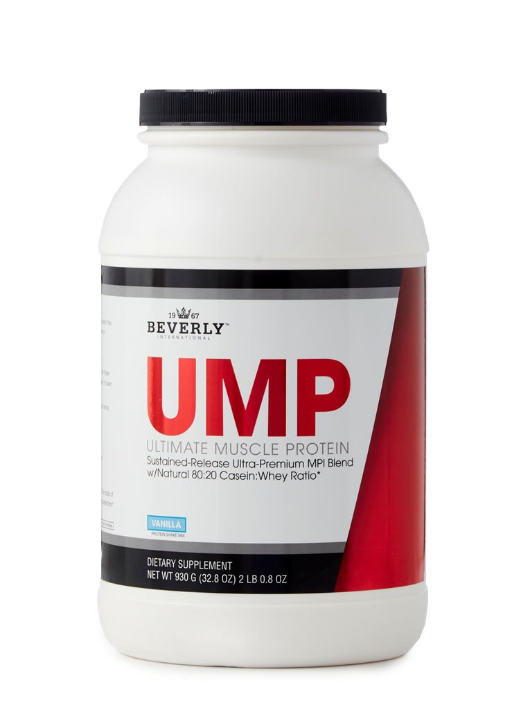 Beverly International UMP Protein Powder 30 servings, Vanilla. Unique whey-casein ratio builds lean muscle and burns fat for hours. Easy to digest. No bloat. (32.8 oz) 2lb .8 oz by Beverly International
