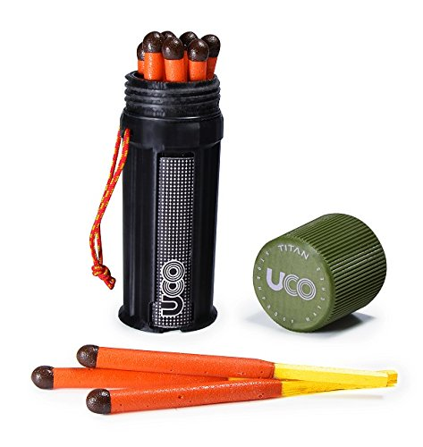 UCO Titan Stormproof Match Kit with Waterproof Case, Replacement Strikers and 12 Matches by UCO