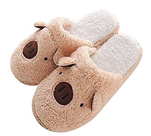FakeFace Women's Indoor Cartoon Brown Pig Slippers 7-8 M US