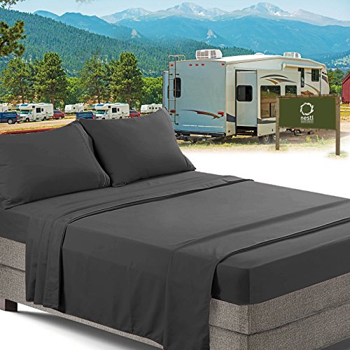 RV/Short Queen Bed Sheets Set Bedding Sheets Set for Campers, 4-Piece Bed Set, Deep Pockets Fitted Sheet, 100% Luxury Soft Microfiber, Hypoallergenic, Cool & Breathable, Gray ()