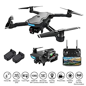 PinPle Drone with Camera and GPS, Live Video 1080P 5G WiFi FPV HD Camera RC Drone Quadcopter with Follow Me, Altitude Hold, Headless Mode,One Key Return Home, Long Flight Time, Speed Control (Black)