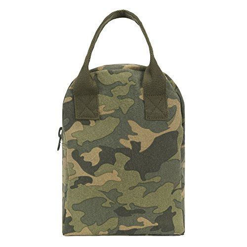 Fluf Reusable Canvas Lunch Bag | Lunch Box for Women, Men, Kids | Organic Cotton Meal Tote with Zipper | Camo ()