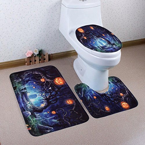 3PC/Set Lid Toilet Cover, Bath Mat Halloween Decorations by Gotd -