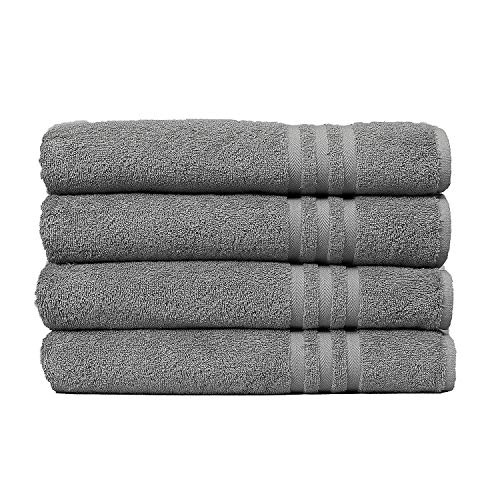 "ECO TOWELS Premium Hotel & Spa Bath Towel Cotton, 27"" x 54"",Set of 4 (Grey)"
