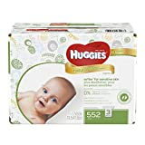 Image of HUGGIES Natural Care Baby Wipes, Pack of 3 Refill Packs (552  Sheets Total), Fragrance-free, Alcohol-free, Hypoallergenic, Safe for Newborns and Sensitive Skin