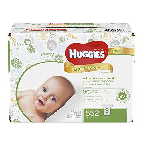 Natural Personal Care (HUGGIES Natural Care Baby Wipes, Pack of 3 Refill Packs (552  Sheets Total), Fragrance-free, Alcohol-free, Hypoallergenic, Safe for Newborns and Sensitive Skin)
