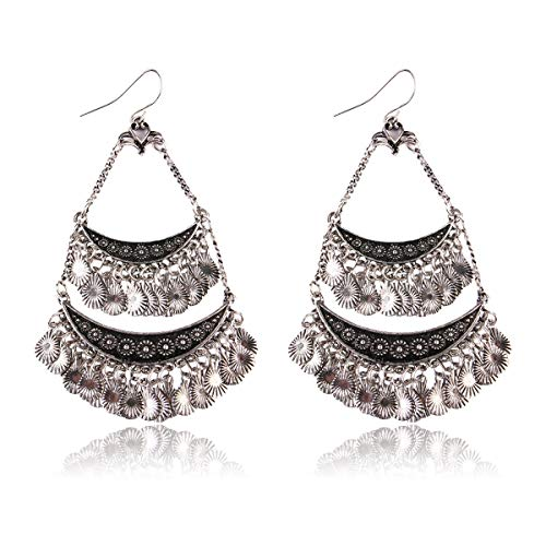 RIAH FASHION Sparkly Geometric Rhinestone Chandelier Hoop Statement Earrings - Cubic Zirconia Crystal Bridal Duster Dangles Fringe Tassel/Waterfall Drape/Circle Ring (Vintage Coin Dangle)