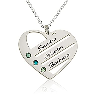 f1eaf84525b9 Amazon.com  Love Pendant Heart Necklace with Birthstones - Birthstone Heart  Necklace - Custom Made with Any Names (16 Inches)  Jewelry