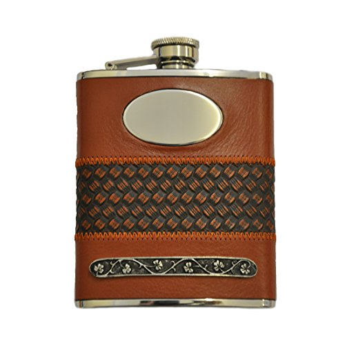 Mullingar Pewter Stainless Steel Whiskey Flask With Leath...