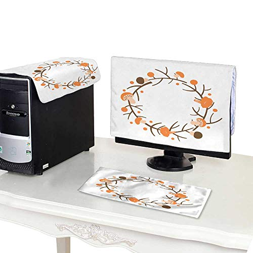 - Miki Da Plastic Computer dust Cover 22''MonitorSet Decorative Autumn Wreath Frame Made of Branches Berries and Mushrooms