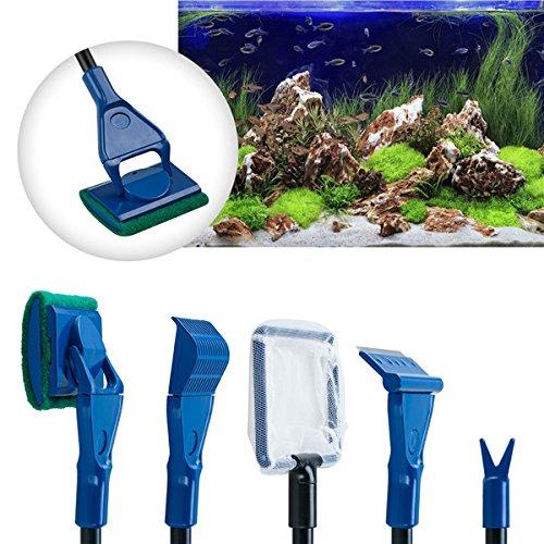 Lycheer 5 in 1 Professional Aquarium Fish Tank Cleaning Kit Fish Net + Rake + Scraper + Fork + Sponge Brush Glass Aquarium Cleaner Tool Set by lychee