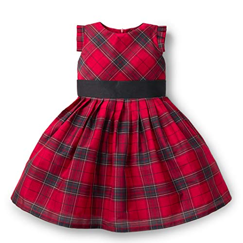 Girls Holiday Plaid Dress - Hope & Henry Girls' Holiday Plaid Taffeta Pleated Dress