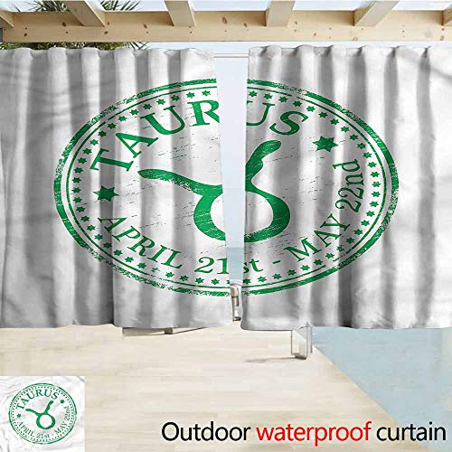 MaryMunger Doorway Curtain Zodiac Taurus Grunge Stamp Outdoor Privacy Porch Curtains W72x72L Inches