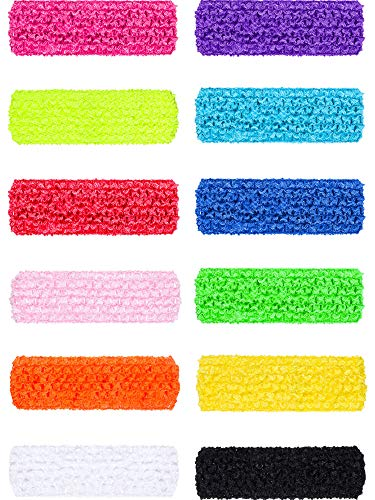 Blulu 12 Pieces 80s Neon Headband Hair Bands Accessories for 80's Costume Party -