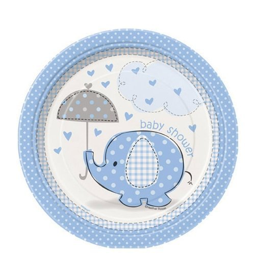 Blue Elephant Baby Shower Edible Cake Topper Frosting 1/4...