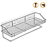 Bathroom Shelf Shower Caddy with Towel Bar Kitchen Storage Rack with Traceless Transparent Adhesive No Drilling SUS304 Stainless Steel