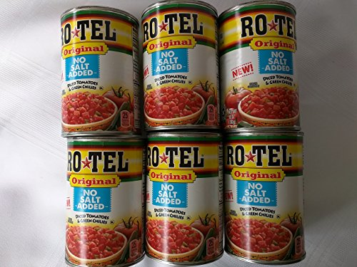 (Rotel Ro Tel Original NO SALT ADDED Diced Tomatoes & Green Chilies 10 oz Cans (6 ct))