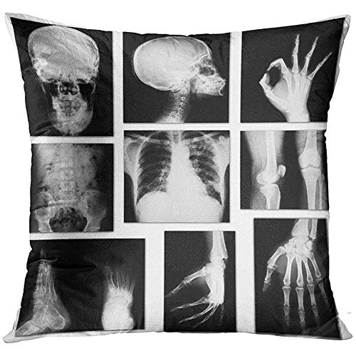 - Throw Pillow Cover Black Xray Collection of X Ray White Skull Bone Decorative Pillow Case Home Decor Square 18x18 Inches Pillowcase
