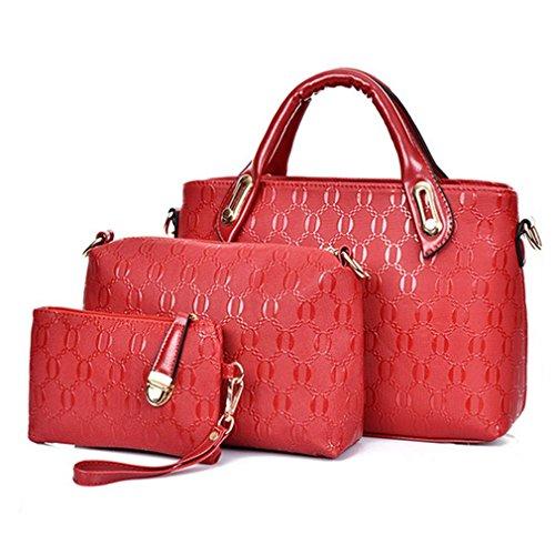 Blue Sunshine Lady Alligator Pattern Three-piece Fashion Handbag(red)