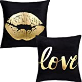 Misaya Bronzing Flannelette Home Pillowcase 18x18 Decorative Cushion Pillow Cover Black Letters Gold Love & Black Gold Lip Throw Pillow Covers