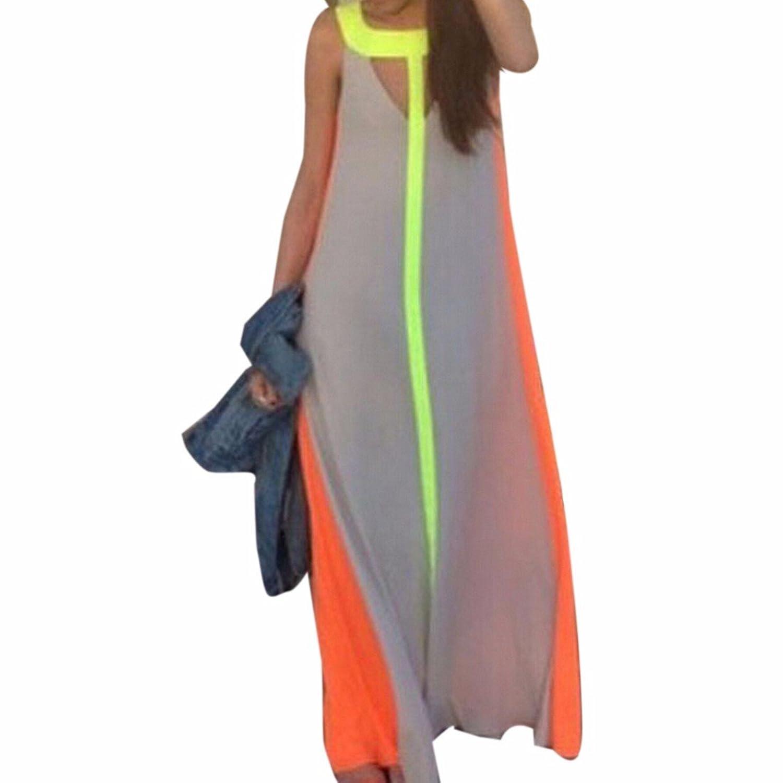 QIYUN.Z Strand Beilaeufiges Sleeveless Taille Frauen Reizvolle Lange Lose Sommer-Maxi Kleid