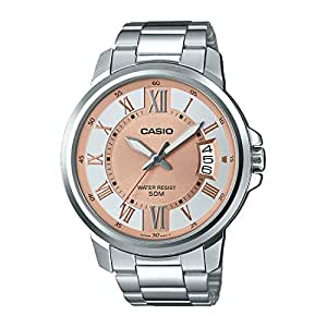 Casio Standart Men's Brown Dial Stainless Steel Band Watch - Mtp-E130D-9Avdf, Grey Band, Analog Display
