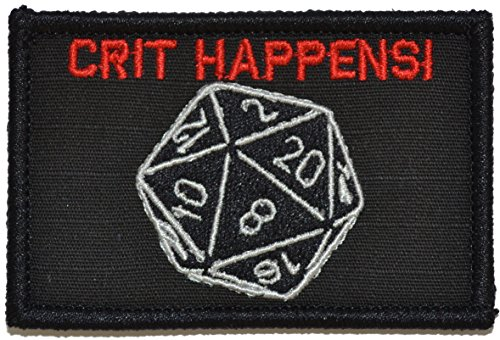 (Crit Happens, Tabletop Game Dice Patch 2x3 Morale Patch - Multiple Color Options (Black with Red))