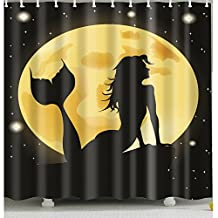 Mermaid-under-Moon Shower Curtain 1 Pc for Home and Bath