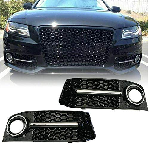 MotorFansClub Front Bumper Fog Light Cover Honeycomb For Audi A4 B8 09-12 Base