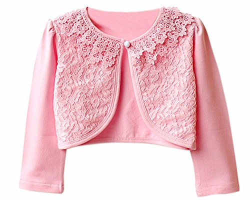 JX Roco Little Girls Long Sleeve Lace Bolero Jacket/Pointelle Shrug Cotton Cardigan Dress Cover Up for Church Wedding Pink,150=8-9years by JX Roco