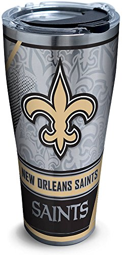 Tervis 1266667 NFL New Orleans Saints Edge Stainless Steel Tumbler with Clear and Black Hammer Lid 30oz, Silver
