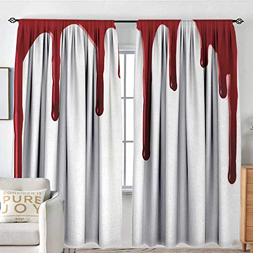 Horror Kids Room Blackout Thermal Insulated Curtains Flowing Blood Horror Spooky Halloween Zombie Crime Scary Help me Themed Illustration W72 xL173 Red White]()