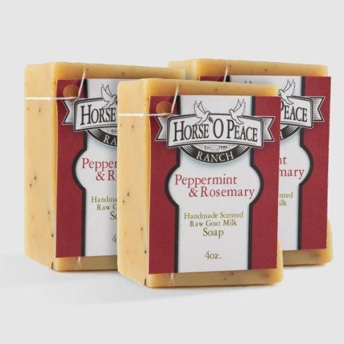 (Handmade Herbal 100% Raw Goat Milk Peppermint & Rosemary Soaps 3 Pack)