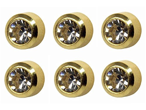 6 Pairs Studex April/Crystal Large 5mm Gold Plated Bezel Setting Ear Piercing Stud Earrings - Piercing Studs Ear Bezel