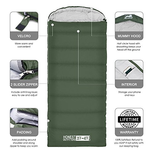 HONEST OUTFITTERS Sleeping Bag with Compression Sack, Envelope Portable and Lightweight for 3-4 Season Camping, Hiking, Traveling, Backpacking and Outdoor Activities Single