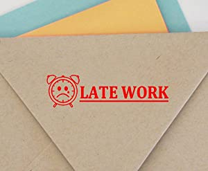 Late Work Self Inking Rubber Stamp Custom Colop Office Stationary P20 Mini Stamper