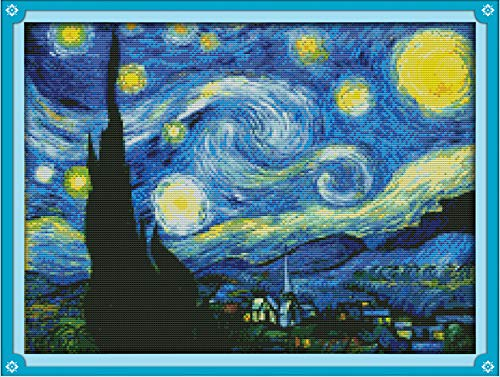 (Joy Sunday Cross Stitch Kits Sweing Patterns Starry Night of Van Gogh 11CT Stamped DMC Printed Fabric Cross-Stitch Hand Embroidery Kit 23'' x18'')