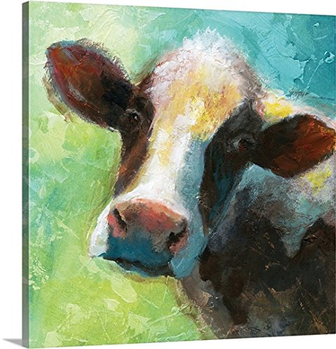 Nan F Premium Thick-Wrap Canvas Wall Art Print entitled Colorful Quirky Cow 24