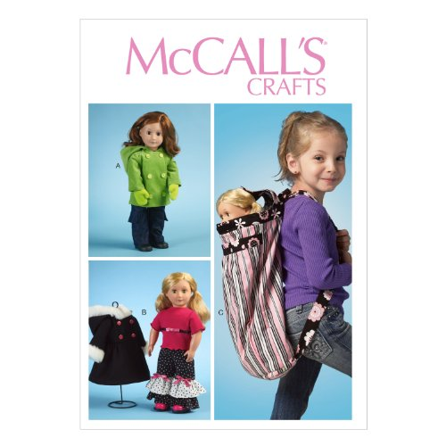 McCall Pattern Company M6854 Clothes for 18-Inch Doll, Accessories and Carrier Sewing Template, One Size (Doll Carrier Pattern For 18 In Doll)