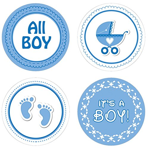 Blue Boy Baby Shower Favor Candle Stickers, 60 Count (Baby Carriage Candle Favor)