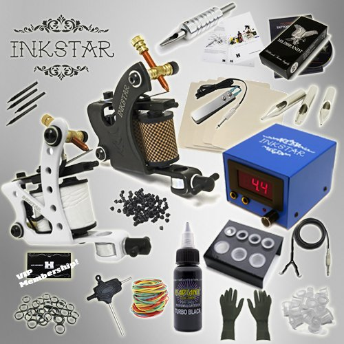 Complete Tattoo Kit Inkstar Journeyman C Machine Gun Power Supply Radiant Colors Pro Black Ink