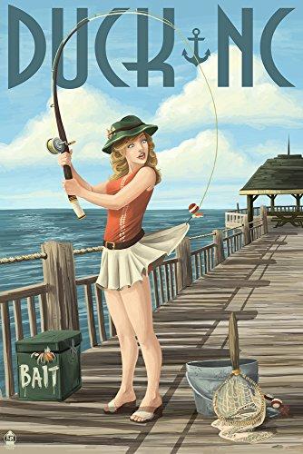Duck, North Carolina - Pinup Girl Fishing (9x12 Art Print, Wall Decor Travel Poster)